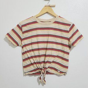 Hollister Striped Boxy Tie-Front Crop Top T-shirt